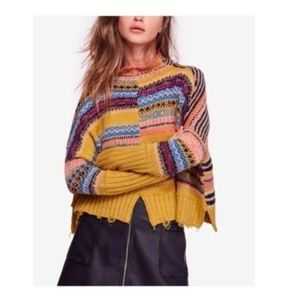 NWT Free People All Pattern Printed Ripped Sweater